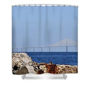 Snowy Egret And Sunshine Skyway Bridge Shower Curtain