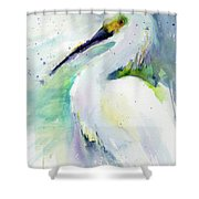Snowy Egret On Lido Beach Shower Curtain