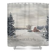 Snowy Farm  Shower Curtain