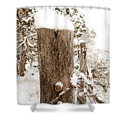 Snowy Fence Post Shower Curtain