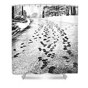 Snowy Footsteps Shower Curtain