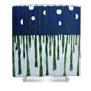 Snowy Forest At Midnight Shower Curtain