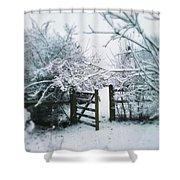 Snowy Garden Gate Three Shower Curtain