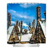 Snowy Hogsmeade Village Rooftops Shower Curtain