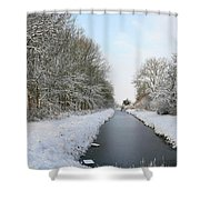 Frozen Scenery Along Canal Shower Curtain