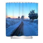 Snowy Lane Shower Curtain