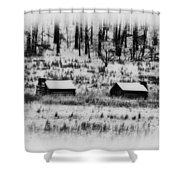 Snowy Log Cabins At Valley Forge Shower Curtain