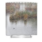 Snowy Marsh With Duck Shower Curtain