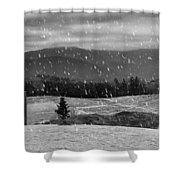 Snowy Mountain Farm Shower Curtain