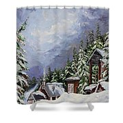 Snowy Mountain Resort Shower Curtain