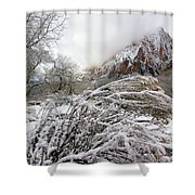 Snowy Mountains In Zion Shower Curtain