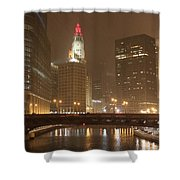 Snowy Night In Chicago Shower Curtain