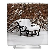 Snowy Park Bench Shower Curtain