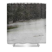 Snowy Patriot Quantico National Cemetery Shower Curtain