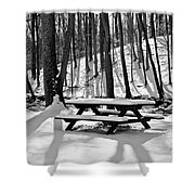 Snowy Picnic Table In Black And White Shower Curtain
