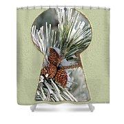 Snowy Pine Keyhole Shower Curtain