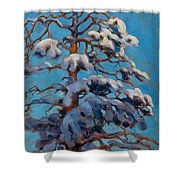 Snowy Pine-tree Shower Curtain
