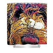 Snowy Pup Shower Curtain