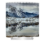 Snowy Reflections In Medicine Lake Shower Curtain