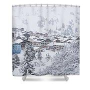 Snowy Resorts Shower Curtain