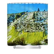 Snowy Rock Mountain Shower Curtain