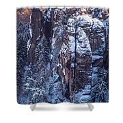 Snowy Rocks. Saxon Switzerland Shower Curtain
