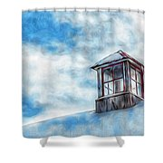 Snowy Rooftop  Shower Curtain
