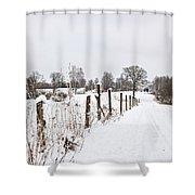 Snowy Rural Landscape Shower Curtain