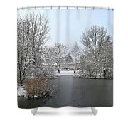 Snowy Scenery Round Canals Shower Curtain