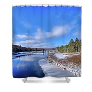 Snowy Shore Of The Moose River Shower Curtain