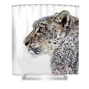 Snowy Snow Leopard Shower Curtain