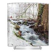 Snowy Stream Landscape Shower Curtain