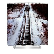 Snowy Train Tracks Shower Curtain