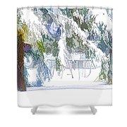 Snowy Trees In Winter Landscape  Shower Curtain