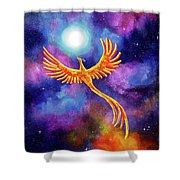 Soaring Firebird In A Cosmic Sky Shower Curtain