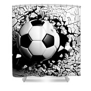 Soccer Ball Breaking Forcibly Through A White Wall. 3d Illustration. Shower Curtain