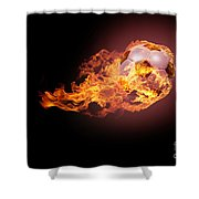Soccer Ball With Fire Shower Curtain