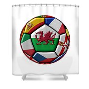Soccer Ball With Flag Of Wales In The Center Shower Curtain