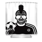 Soccer Skull Icon Background With Sunglasses And Ball. Shower Curtain