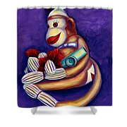 Sock Monkey With Kazoo Shower Curtain