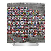 Soda Pop Bottle Cap Map Of The United States Of America Shower Curtain