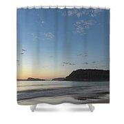 Soft Blue Dawn Seascape Shower Curtain