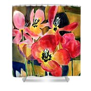 Soft Quilted Tulips Shower Curtain