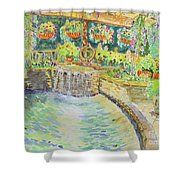 Soft Waterfall In The Pool Of Gibbs Gardens Shower Curtain