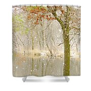 Softly Falls The Snow Shower Curtain by Lori Frisch
