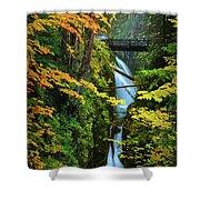 Sol Duc Falls In Autumn Shower Curtain
