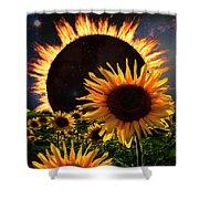 Solar Corona Over The Sunflowers Shower Curtain