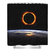 Solar Eclipse From Above The Earth Painting Shower Curtain