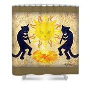 Solar Feline Entity Shower Curtain