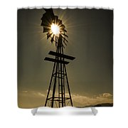 Solar Meets Wind Shower Curtain by Barry C Donovan
